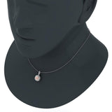Round Cut Pink Morganite Cushion Double Halo 2 tone necklace 14K Gold (G,SI) - Rose Gold