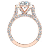 Moissanite Engagement rings 18K Gold Halo Rings for women 4.30 carat (G,VS) - Rose Gold
