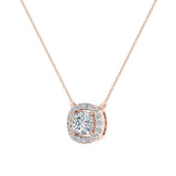 Cushion Halo Diamond Necklace 14K Gold (G,I1) - Rose Gold