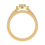 Statement Band Marquise Cut Halo Diamond Engagement Ring Baguettes 1.43 Carat Total 18K Gold (G,SI) - Yellow Gold