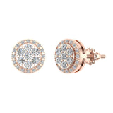 Halo Cluster Diamond Earrings 0.48 ctw 14K Gold (I,I1) - Rose Gold