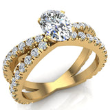 X Cross Split Shank Oval Shape Diamond Engagement Ring 1.75 carat Total 18K Gold - Yellow Gold