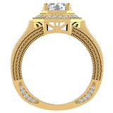 Large  Moissanite Engagement Ring 14K Gold Halo Rings for women 7.30 mm 6.35 carat (G,SI) - Yellow Gold