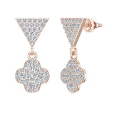 Diamond Dangle Earrings Clover Pattern Cluster Triangle Top 14K Gold 0.90 ctw (G,SI) - Rose Gold