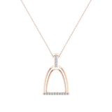 Horse Stirrup Diamond Necklace for Women 14k Gold 0.16 ct tw - Horse Accessories (I,I1) - Rose Gold