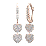 Heart Diamond Dangle Earrings Dainty Drop Style 14K Gold 1.18 ctw (I,I1) - Rose Gold