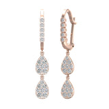 Teardrop Diamond Dangle Earrings Dainty Drop Style 14K Gold 0.92 ctw (G,SI) - Rose Gold