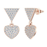 Heart Diamond Dangle Earrings 14K Gold (G,SI) - Rose Gold