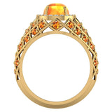 Cabochon Citrine & Diamond Cocktail Ring Halo Style Dome Shape Fashion Ring 2.93 Carat Total Weight 18K Gold - Yellow Gold