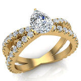 X Cross Split Shank Pear Shape Diamond Engagement Ring 1.75 carat Total 14K Gold - Yellow Gold