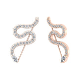 Snake style vines or Ear climber earrings 14K Gold (I,I1) - Rose Gold