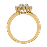 Classic Floral Halo Diamond Engagement Rings Round brilliant diamond ring 18K Gold 1.05 carat (G,SI) - Yellow Gold