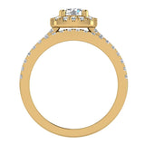 Luxury Round Cushion Halo Diamond Engagement Ring Set 14K Gold (G,I1) - Yellow Gold
