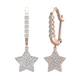 Star Diamond Dangle Earrings Dainty Drop Style 14K Gold 0.73 ctw (I,I1) - Rose Gold