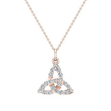 Celtic Knot Charm Necklace 14K Gold 0.24 Ctw (G,I1) - Rose Gold