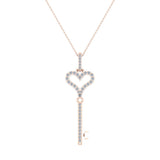 14K Gold Key to your Heart Diamond Necklace ¼ ctw (I,I1) - Rose Gold