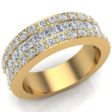 14K Gold Men's or Unisex Ring Princess and Round Diamond Half Eternity Wedding Band 2.52 ctw - Yellow Gold