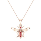 Insect Pendant Mosquito Charm Fly Necklace 14K Gold 0.09 ctw - Rose Gold