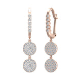 Circle Diamond Dangle Earrings Dainty Drop Style 14K Gold 1.22 ctw (I,I1) - Rose Gold
