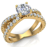 X Cross Split Shank Round Brilliant Diamond Engagement Ring 1.75 carat Total 14K Gold - Yellow Gold