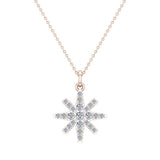Starburst Charm Necklace Dainty 14K Gold 0.24 ctw (G,I1) - Rose Gold
