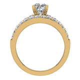 Two Row Princess Solitaire Diamond Engagement Ring Set 14K Gold (G,SI) - Yellow Gold
