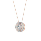 Round Double Halo Diamond Necklace 14K Gold (I,I1) - Rose Gold