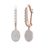 Oval Diamond Dangle Earrings Dainty Drop Style 14K Gold 0.70 ctw (I,I1) - Rose Gold