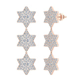 Star of David Diamond Cluster Chandelier Earrings Waterfall Style 14K Gold (G,SI) - Rose Gold