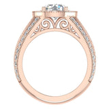 Large Moissanite Engagement Ring Real Accented Diamond Ring 18K Gold 7.30 mm 2.80 carat tw (G,VS) - Rose Gold