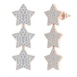 Star Diamond Cluster Chandelier Earrings Waterfall Style 14K Gold (G,SI) - Rose Gold