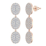 Oval Diamond Chandelier Earrings Waterfall Style 14K Gold (G,SI) - Rose Gold