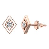 Diamond Earrings Kite Shape Studs Bezel Settings 10K Gold (J,SI2-I1) - Rose Gold