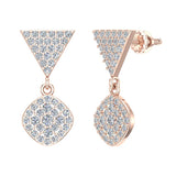 Cushion Diamond Dangle Earrings 14K Gold 0.80 ctw (I,I1) - Rose Gold