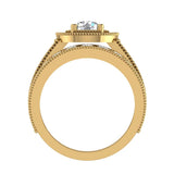 2.24 Carat Solitaire Diamond Halo And Simple Studded Shank Wedding Ring Set 14K Gold (G,I1) - Yellow Gold