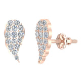 Angel Wing Pave Diamond Cluster Stud Earrings 0.50 ctw 18K Gold (G,VS) - Rose Gold