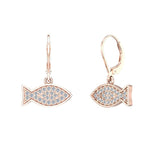 14k Fish 0.68 ct tw Pave Set Diamond Stud Earring (G,SI) - Rose Gold