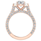 Moissanite Engagement rings 18K Gold Halo Rings for women 4.15 carat (G,VS) - Rose Gold