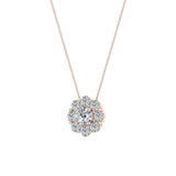 Round Diamond Halo Pendant 14K Gold (G,SI) - Rose Gold