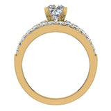 Two Row Princess Solitaire Diamond Engagement Ring Set 14K Gold (I,I1) - Yellow Gold