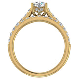 Accented Diamond Solitaire Wedding Ring Set w/ Enhancer Bands Bridal 1.90 Carat Total 18K Gold (G,VS) - Yellow Gold