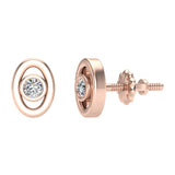 Diamond Earrings Oval Shape Studs Bezel Settings 10K Gold (J,SI2-I1) - Rose Gold
