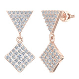 Square Diamond Dangle Earrings 14K Gold 0.80 ctw (G,SI) - Rose Gold