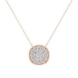 18K Gold Necklace Button Dainty Button Style Pendant 0.50 ctw (G,VS) - Rose Gold