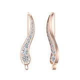 Pave Set Vines Ear Climber Earrings 14k Gold (G,SI) - Rose Gold