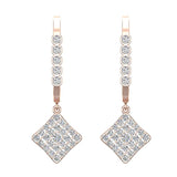 Square Diamond Dangle Earrings Dainty Drop Style 14K Gold 1.31 ctw (I,I1) - Rose Gold