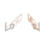 Love vines Ear Climbers Earrings 14k Gold (I,I1) - Rose Gold