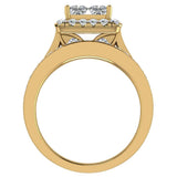 Princess Cut Quad Halo Wedding Ring Set w/ Enhancer Bands Bridal 18K Gold (G,VS) - Yellow Gold