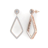 Magnificent Diamond Dangle Earrings delicate Kite Halo Stud 14K Gold (I,I1) - Rose Gold