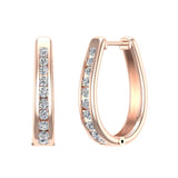 23.84 mm Long Channel Set Diamond Hoop Earrings Click Lock Setting 0.95 ctw 14K Gold (I,I1) - Rose Gold
